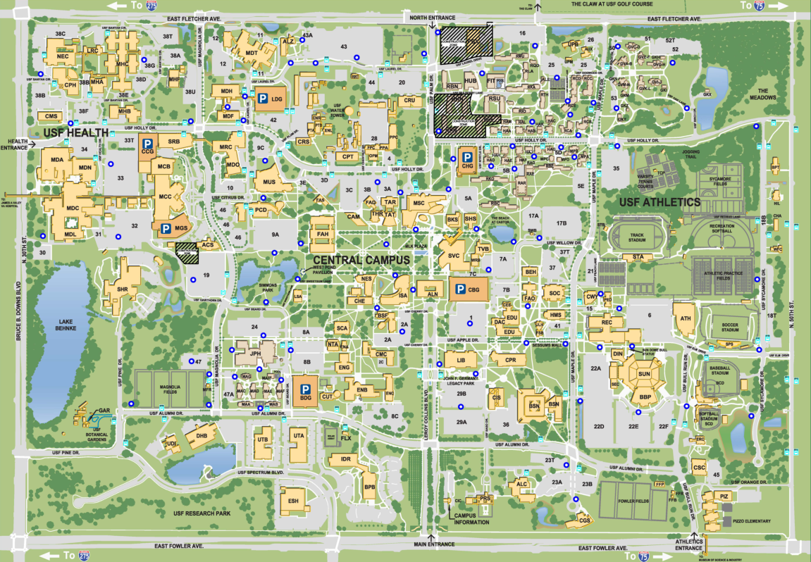 Map of the USF Tampa campus